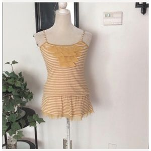 Mine Yellow Off White Sleeveless Top Size Small